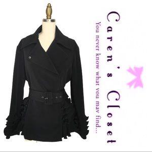 Giorgio Armani Black Crepe Ruffle Blazer Jacket